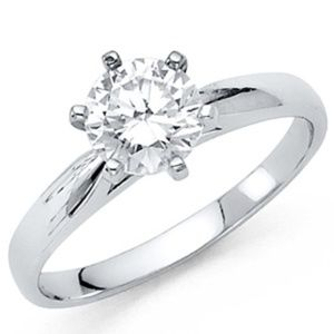 14k White Gold 1.25 CT Round Engagement Ring